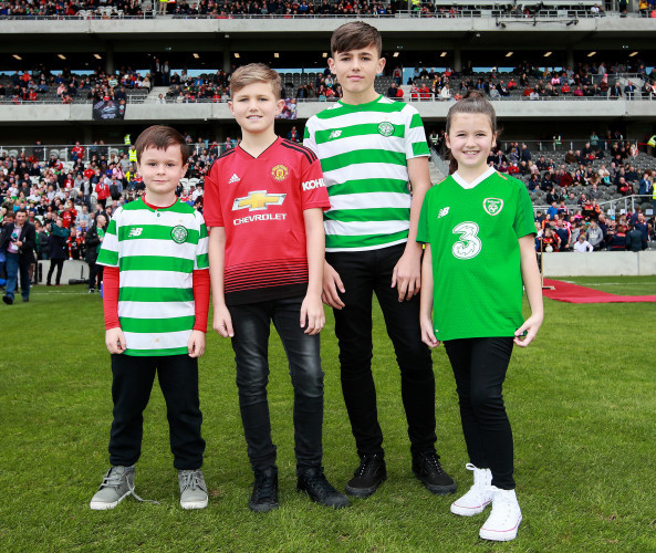Liam Miller's nephew Tom with his children Leo, Kory and Belle
