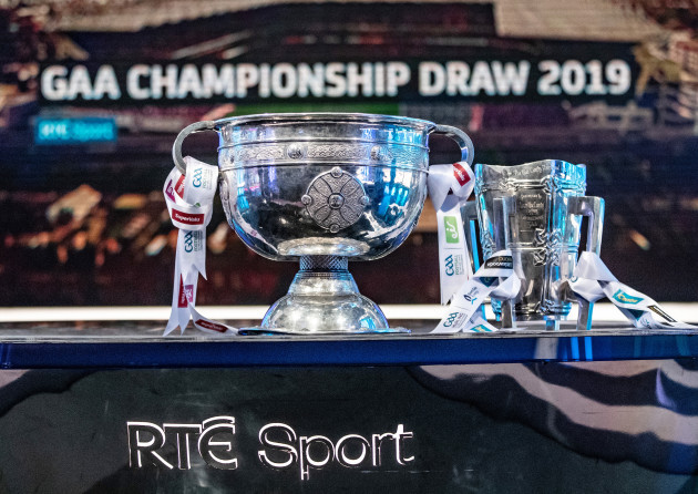 A general view of the Sam Maguire and Liam MacCarthy Cups ahead of the draw