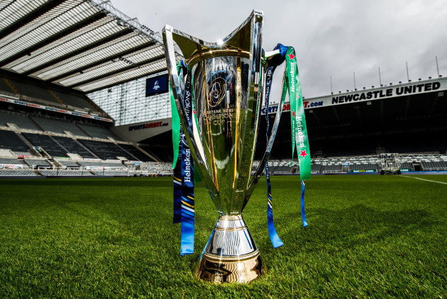 A view of the Heineken Champions Cup trophy