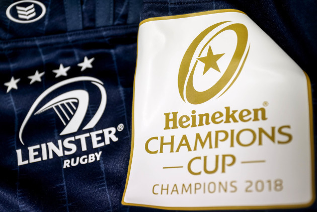 A view of the Heineken Champions Cup sleeve patch on a Leinster jersey 12/10/2018
