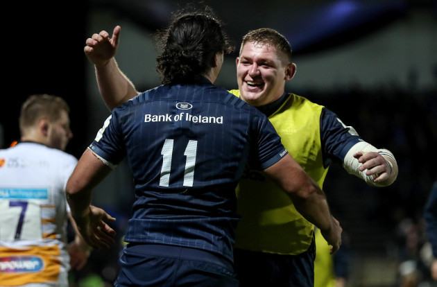 James Lowe celebrates scoring their fifth try with Tadhg Furlong 12/10/2018