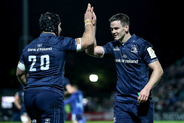 Sean O'Brien and Jonathan Sexton celebrate a try 12/10/2018