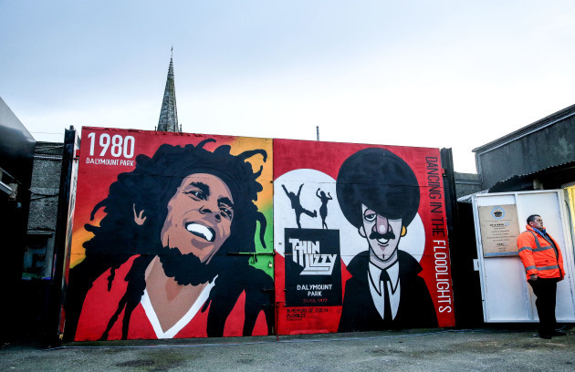 A view of a Bob Marley and Phil Lynott mural in Dalymount Park