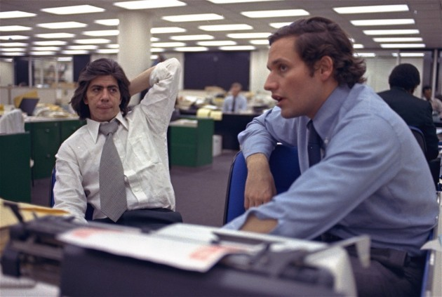 Bernstein and Woodword in the Washington Post newsroom in May 1973