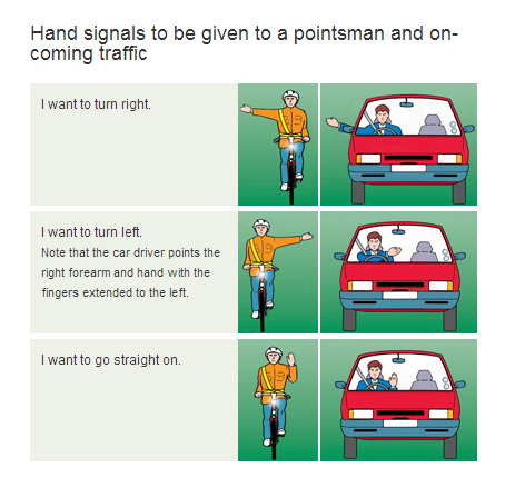 Don't forget to use hand signals