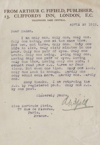 Author Gertrude Stein Was Probably Fuming When She Got This Letter From  Publisher Arthur C Fifield Mocking Her Manuscript Of Three Lives.
