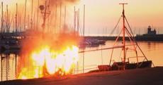 PHOTOS: Gardaí investigating fire on trawler at Howth pier