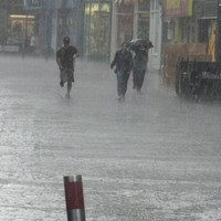 Floods and downpours! This is the scene in Galway city this afternoon