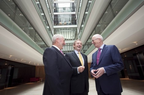 (L-R) David Dempsey, Enda Kenny and Barry O'Leary at Salesforce.com's new office complex at No. 1 Central Park in Dublin.