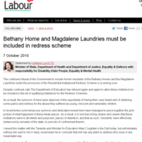 Minister said Bethany Home must be included in redress scheme... in 2010