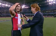 St Kilda player doesn't know where he is after this massive hit