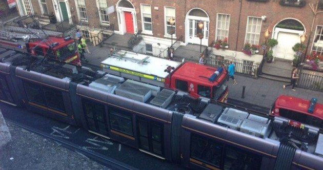 Photos: Luas delays after tram and lorry collide in Dublin city centre