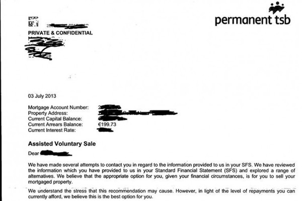 Permanent TSB tells customer in arrears of €200 to sell her