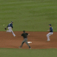 Even if you don't like baseball, you'll like this behind-the-back flip pass
