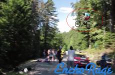 Man on a mountain bike jumps over Tour de France leaders mid-race