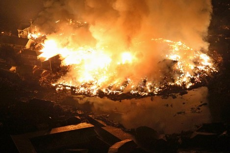 Houses and others burn in Natori, Miyagi Prefecture