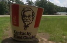 What's a seven-foot KFC bucket doing in this woman's garden?