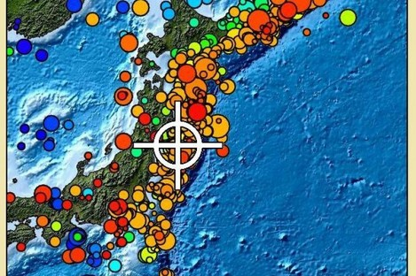 The closer to the colour red the spot is, the closer to the surface the quake focus was in this map of Japan. Image: Pacific Tsunami Warning Center.