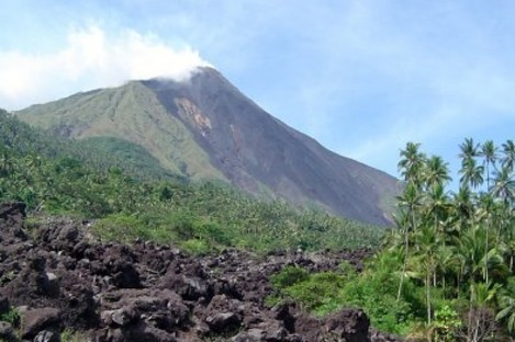 Mount Karangetang volcano lies on the shoulder of the mountain in Siau, part of Indonesia's Sulawesi island chain.