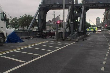 The scene of the crash yesterday morning