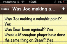 Aaron Kernan uses the notes app on his iPhone to wade in on Brolly v Cavanagh