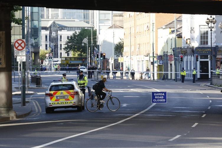 Garda on duty outside Connolly Train Station earlier.