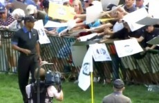 Tiger Woods ran away from a herd of autograph hunters after they nearly crushed a fence