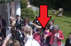 Granny gets confused, flings her drink over bride