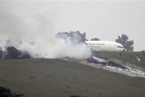 The UPS cargo plane which crashed at Birmingham-Shuttlesworth International Airport in Alabama
