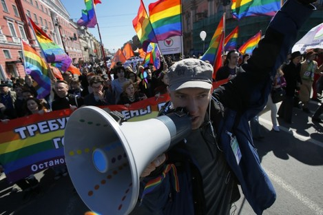 Gay rights activists march during a traditional May Day rally in St.Petersburg earlier this year