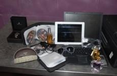 Pics: Gardaí seize 18 plasma tvs, phones and jewellery from suspected burglary gang
