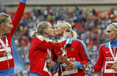 Russian sprinters cite 'storm of emotions' as they slam claims of gay kiss
