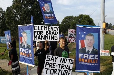 Supporters of Bradley Manning at the gates at Fort Meade where he was sentenced today.