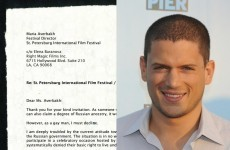 Here's the letter gay actor Wentworth Miller sent to a Russian film festival