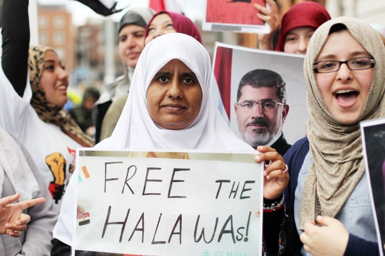 The Halawa siblings' sister Nosaybe joins a protest at the Egyptian Embassy in Dublin calling for release of her siblings from custody earlier this week