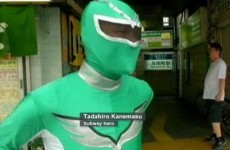 Man dresses up as a Power Ranger to help out at Tokyo subway station