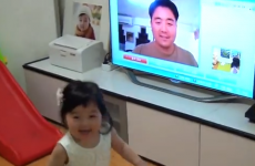 Little girl loses it when she sees dad on Skype