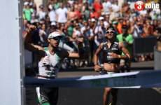 Ironman winner starts celebrating too early, nearly gets caught on the line