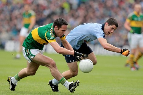 Rivals: Dublin's Rory O'Carroll with Declan O'Sullivan of Kerry will be in opposition next Sunday.
