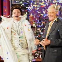 Bill Murray arrives at Letterman in majestic white regalia