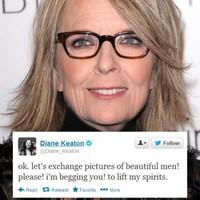 Diane Keaton asks the internet to send her photos of beautiful men