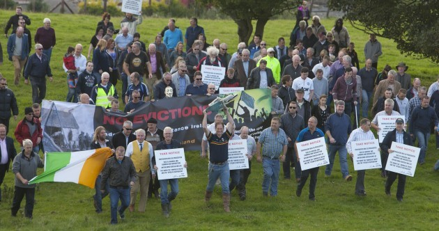 PICS: 250 locals take back Kildare stud farm from receivers and lock them out