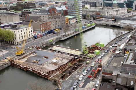 A view of the new bridge under construction during the summer.