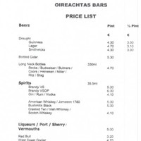 Here's what a drink costs in the Leinster House bars