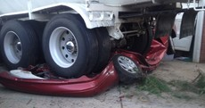 Parked car totally flattened by runaway lorry, nobody hurt
