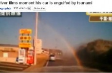 Driver films the terrifying moment his car is engulfed by the tsunami (Video)