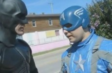Batman and Captain America save cat from burning house