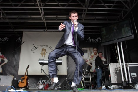 Derek Burke from Crystal Swing performs during the Punchestown Festival last year