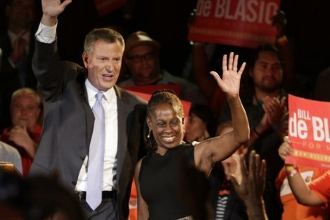 New York City Democratic Mayoral candidate Bill De Blasio and his wife Chirlane.