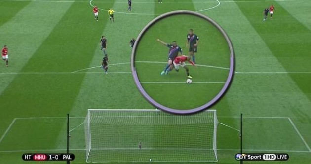 Was this challenge on Ashley Young a penalty?